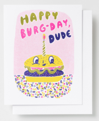 Burger Birthday Card Yellow Owl Workshop