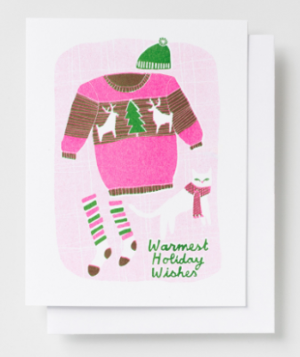 Warmest Holiday Wishes Card Yellow Owl