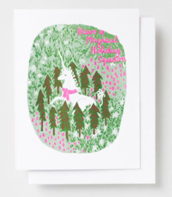 Magical Holiday Unicorn Card Yellow Owl