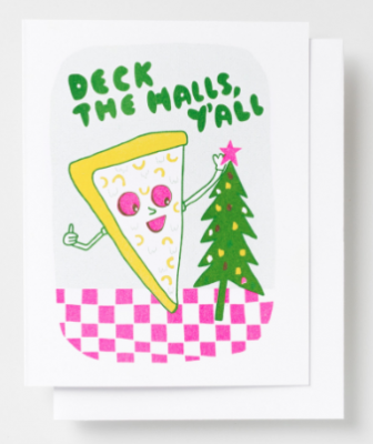 Deck the Halls Pizza Card Yellow