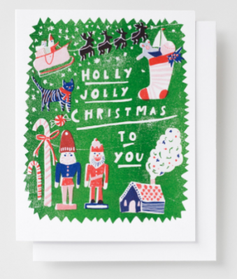 Hello Jolly Xmas Card Yellow Owl