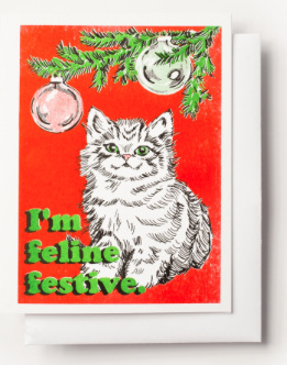 Feline Festive Card Yellow Owl Workshop