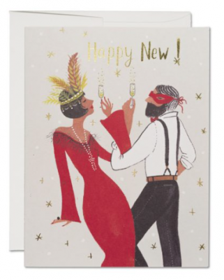 Gatsby New Year Card - Red Cap Cards