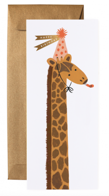 Giraffe Birthday Long Card - VE