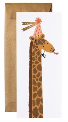 Giraffe Birthday Long Card - VE