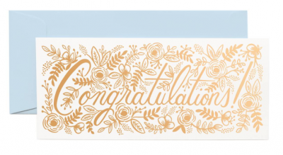 Champagne Floral Congrats Long Card VE