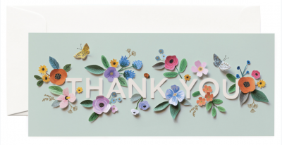 Cut Paper Thank You Long Card