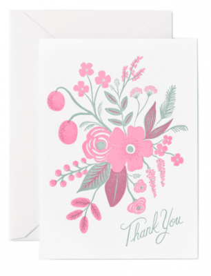 Rosy Thank You Letterpress Card Rifle