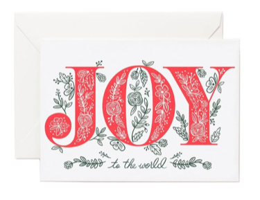 Joy To World Letterpress Card - Letterpress Card