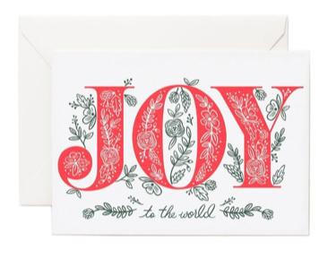 Joy To World Letterpress Card Letterpress