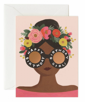 Flower Crown Birthday Girl Riffle Paper