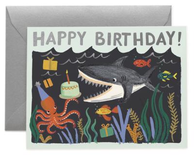 Shark Birthday Card Rile Paper Co