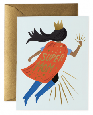 Super Mom Blue Card Greeting Card
