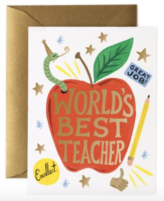 World s Best Teacher Card Rifle Paper