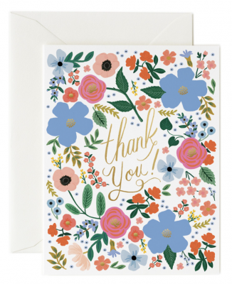 Wild Rose Thank You Card Greeting