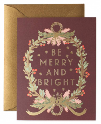 Be Merry and Bright Wreath Card - Rifle Paper Co.