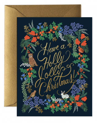 Holly Jolly Christmas Card Greeting Card