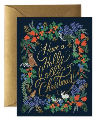 Holly Jolly Christmas Card Greeting Card