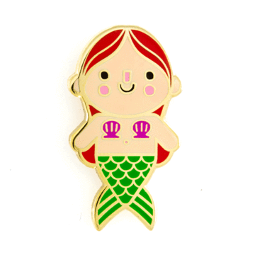 Mermaid Baby Red Hair Enamel Pin