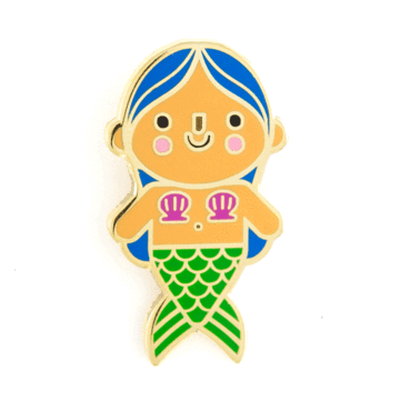 Mermaid Baby Blue Hair Enamel Pin