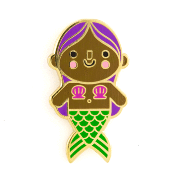 Mermaid Baby Purple Hair Enamel Pin