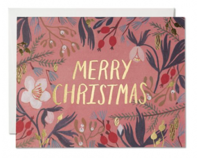 Christmas Flowers Card - Red Cap Cards