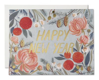 New Years Flowers Card Red Cap