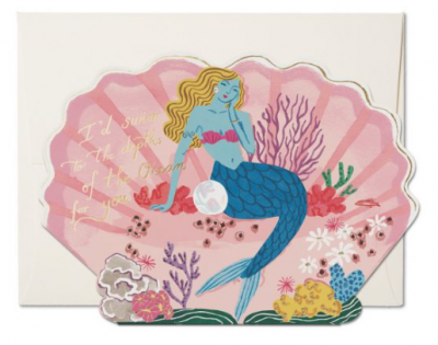 Blue Mermaid Card - Red Cap Cards
