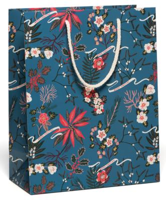 Blue Poinsettia Bag Red Cap Cards