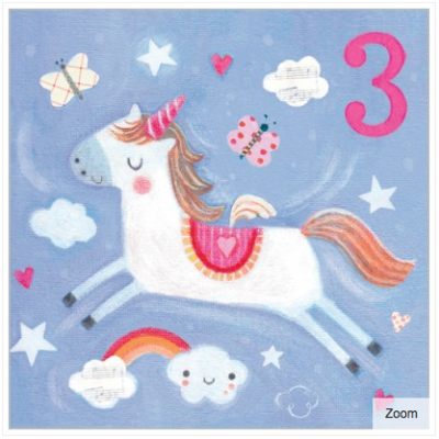 Birthday Unicorn Card - Age 3 Girl