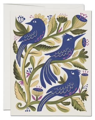 Purple Birds Card Red Cap Cards