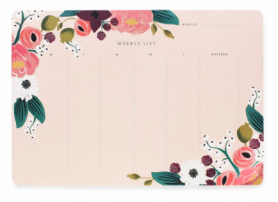Pink Floral Weekly Desk Pad - VE 6