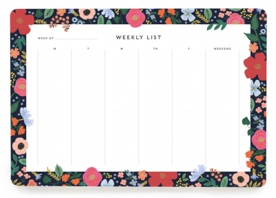 Wild Rose Weekly Desk Pad Wochenplaner
