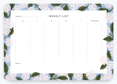 Hydrangea Weekly Desk Pad - Wochenplaner