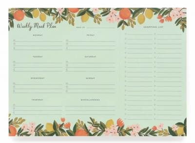Citrus Floral Weekly Meal Planner VE6