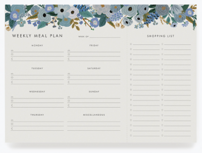 Garden Party Blue Meal Planner Meal
