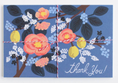 Cobalt Thank You Postcards Rifle Paper
