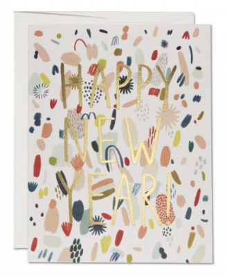 Abstract New Year Card - Red Cap Cards