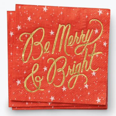 Be Merry Bright Cocktail Napkins Rifle