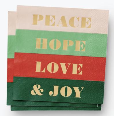 Peace Joy Cocktail Napkins Rifle Paper