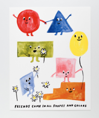 Friends of All Shapes Print Yellow