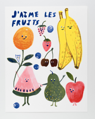 J Aime les Fruits Print Yellow Owl