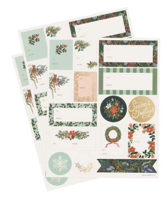 Winter Floral Sticker Set - Holiday Sticker & Labels